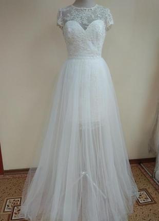 Свадебное платья со сьемной юбкой