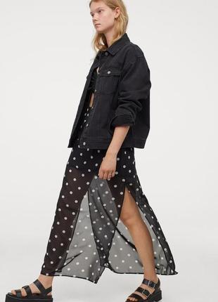 Длинная шифоновая юбка h&m черная в горох новая, англия