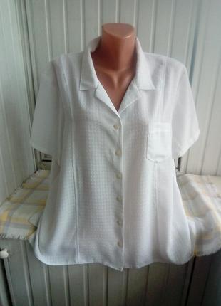 Белая блуза рубашка большого размера батал