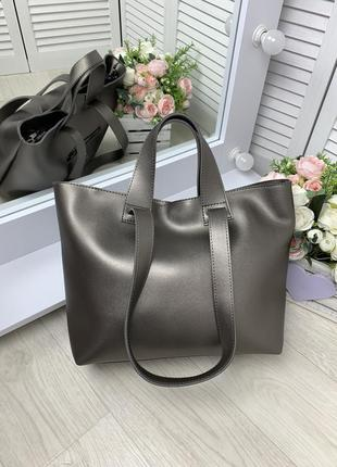Большая женская сумка шопер графит плечевые ручки,вместительная модель