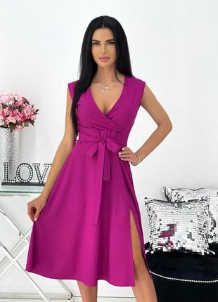 Платье женское нарядное на выход миди длинное яркое без рукава с поясом