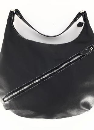 """Кожаная сумка-хобо """"топинамбур"""" (черный)"""