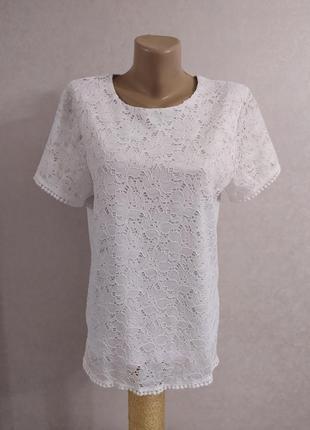 Белая кружевная футболка блуза, р.s