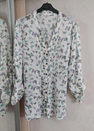 Нежная легкая туника блуза с принтом бабочек, р.18-46