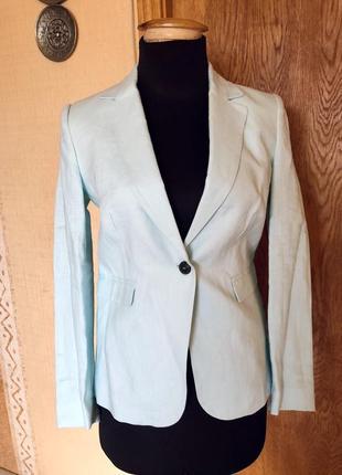 Льняной пиджак mango нежно-мятного цвета