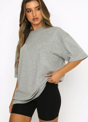 Женская футболка оверсайз светло серая меланжевая  классическая хлопковая fruit of the loom