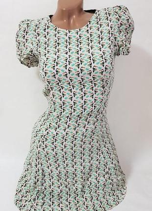 Платье летнее женское zara мятное в принт птицы марокко