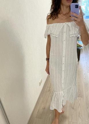 Белое платье миди в полоску mango