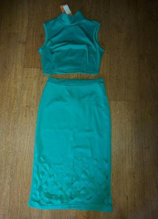 Костюм летний топ и юбка на талии 42-44