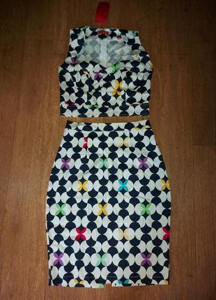 Летний костюм юбка на талиии топ 42-44 котон турция