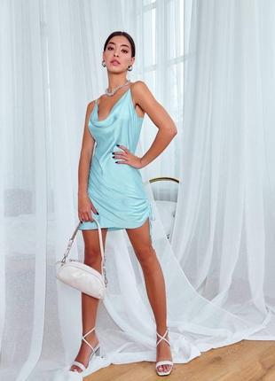 Трендовое короткое шелковое платье коктейльное платье шелк