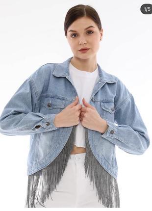 Джинсова куртка піджак оригінальний дизайн2 фото