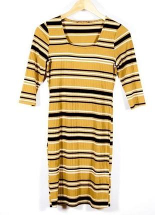 Актуальное платье в рубчик, в полоску, яркое, стильное, модное