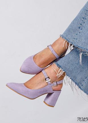 Замшевые босоножки на каблуке с ремешком натуральная замша кожа летние туфли