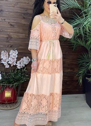 Платье сарафан миди с кружевом