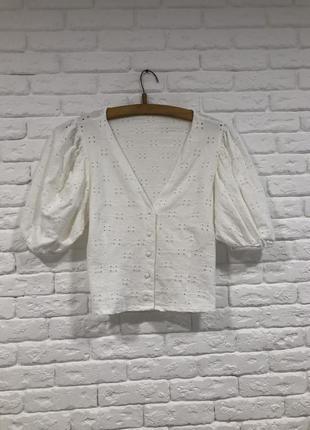 Прошва блуза рукава буффы легкая летняя тренд