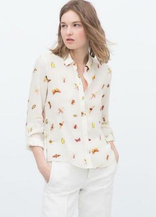 Рубашка блузка блуза с принтом насекомых 🔥zara🔥принт белая