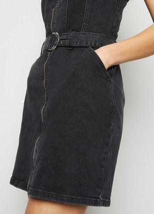 Asos199 джинсовое платье сарафан с поясом new look
