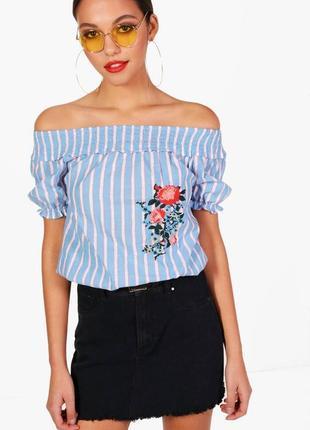 Boohoo красивый хлопковый топ блуза с вышивкой, р.12-40