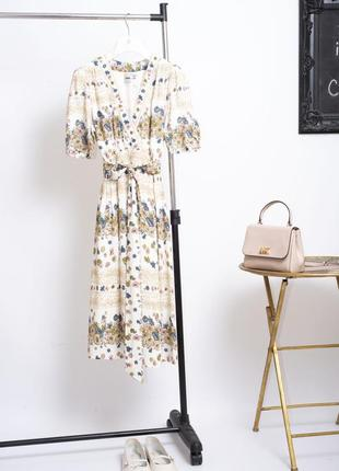 Милое летнее цветочное платье миди с поясом и объемными рукавами asos