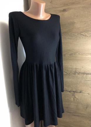 💫чёрное платье с длинным рукавом topshop