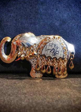 Брошь звенящий слон слоник в индийском бохо стиле