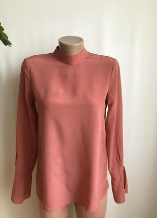 Шелковая блуза кораллового цвета от hallhuber xs,s