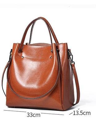 Большая кожаная рыжая сумка с 4 ручками2 фото