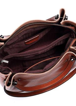 Большая кожаная рыжая сумка с 4 ручками3 фото