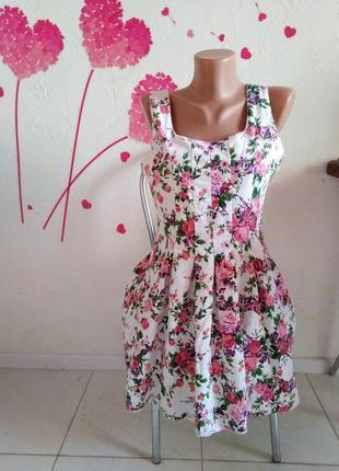Платье женское fb sister цветочный принт с подкладкой юбка клеш белое
