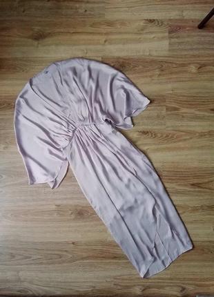 Лиловое платье миди атласное шелковое сатиновое из сатина лілова сукня плаття міді шовкова