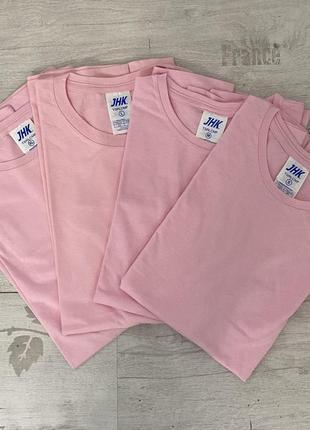 Розовая футболка базовая однотонная 100% хлопок размеры