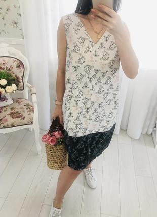 Стильное комбинированное льняное платье сарафан  в цветочный принт лён next