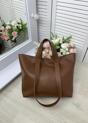 Большая женская сумка шопер рыжий вместительная сумка плечевые ручки