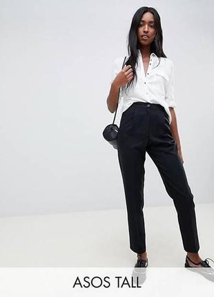 Черные базовые зауженные брюки с защипами манжетами рюшей над поясом h&m