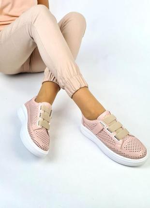 Шикарные кожаные замшевые женские кеды с перфорацией, на липучках, розовые10 фото