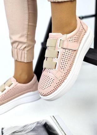 Шикарные кожаные замшевые женские кеды с перфорацией, на липучках, розовые4 фото