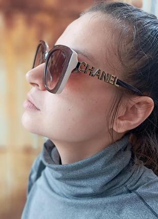 Стильные крупные очки оправа цвета кофе с молоком италия3 фото