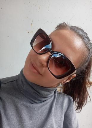 Стильные крупные очки оправа цвета кофе с молоком италия6 фото