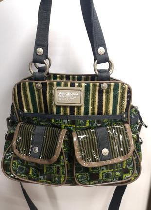 Фирменная дизайнерская брендовая лаковая  сумочка с принтом george gina lucy