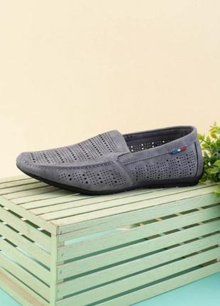 Мужские серые туфли из эко-кожи