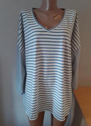 Мягкий стильный трикотажный лонгслив/футболка с рукавом 3/4, большого размера