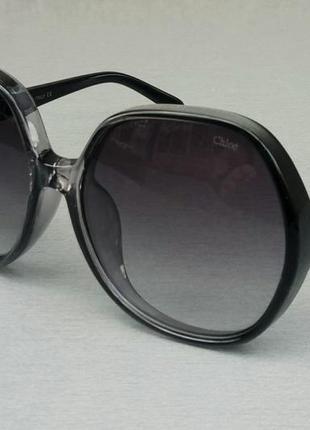 Chloe очки женские солнцезащитные очень большие черно серые с градиентом