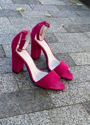 Босоножки шлепанцы натуральная замша фуксия 372-3  сандалии на высоком каблуке летние