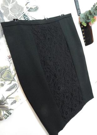 Красивая черная юбка карандаш с кружевом от papaya спідниця олівець із мереживом