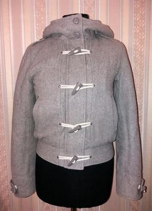 Бомбер, курточка-пальто теплая с капюшоном, демисезон, с шерстью,s/m, topshop