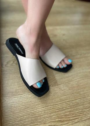 Женские шлепки натуральная кожа белые летняя обувь шлепки на пляж ручная работа тренд 2021