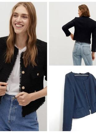 Актуальный кроткий твидовый пиджак из последних коллекций известных брендов