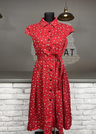 Червоне плаття котонове  на запах з гудзиками красное платье котоновое на запах с пуговицами