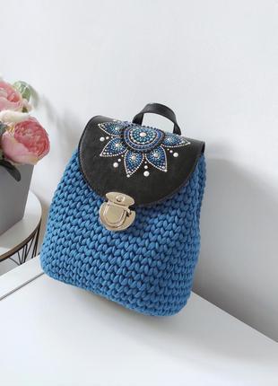 Рюкзак вязанный, (синий, черный)